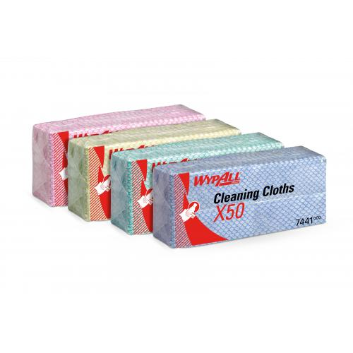 All purpose wiping cloth wypall x50 red 1 ply 42cm 16 5