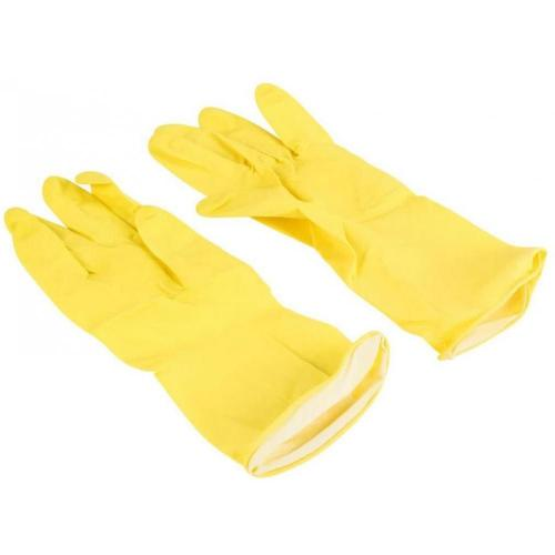 Household latex rubber gloves yellow small