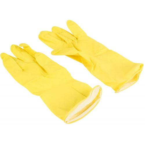 Household latex rubber gloves yellow medium
