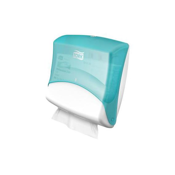 Tork folded wiper cloth dispenser white turqoise