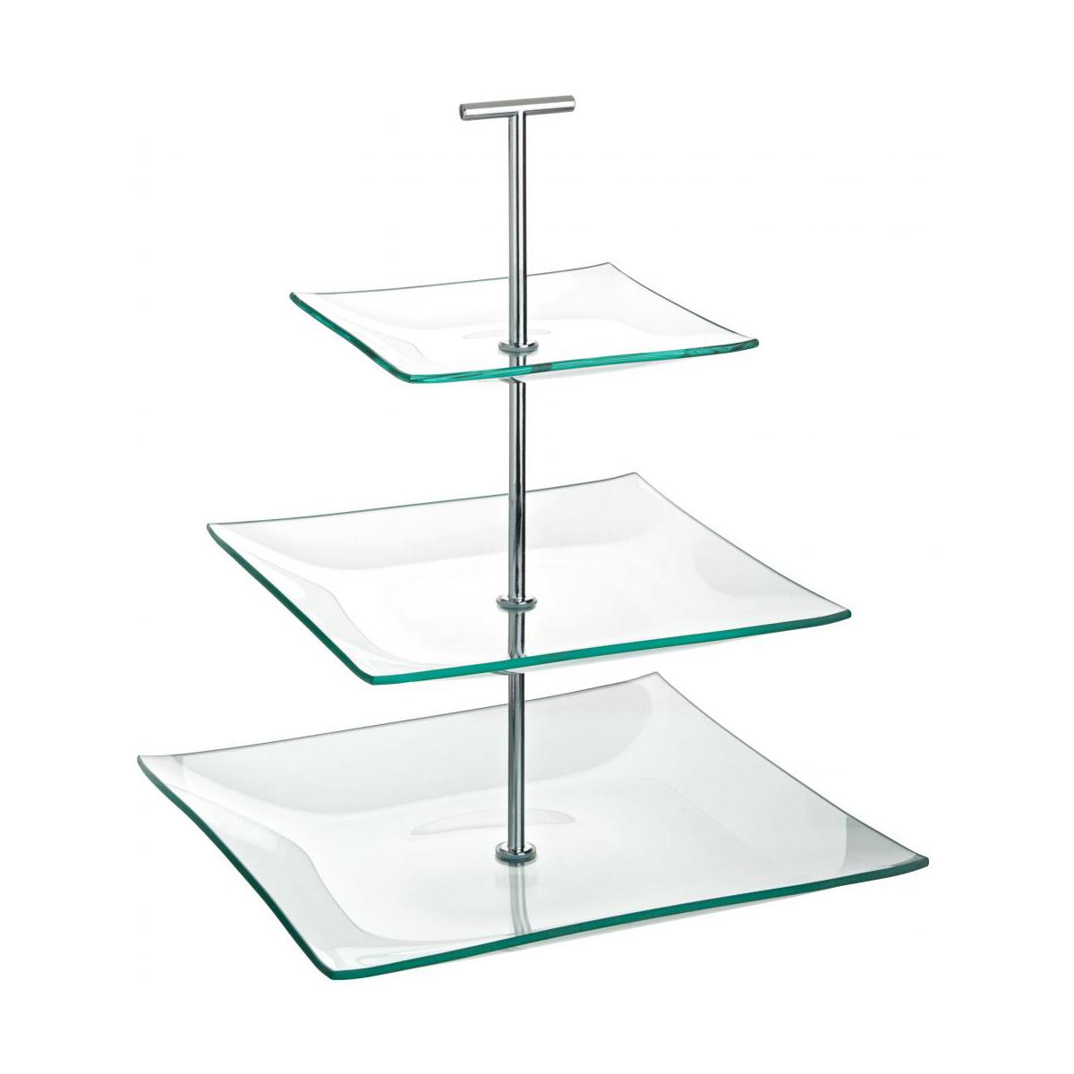 Square Glass Cake Plate No Stand
