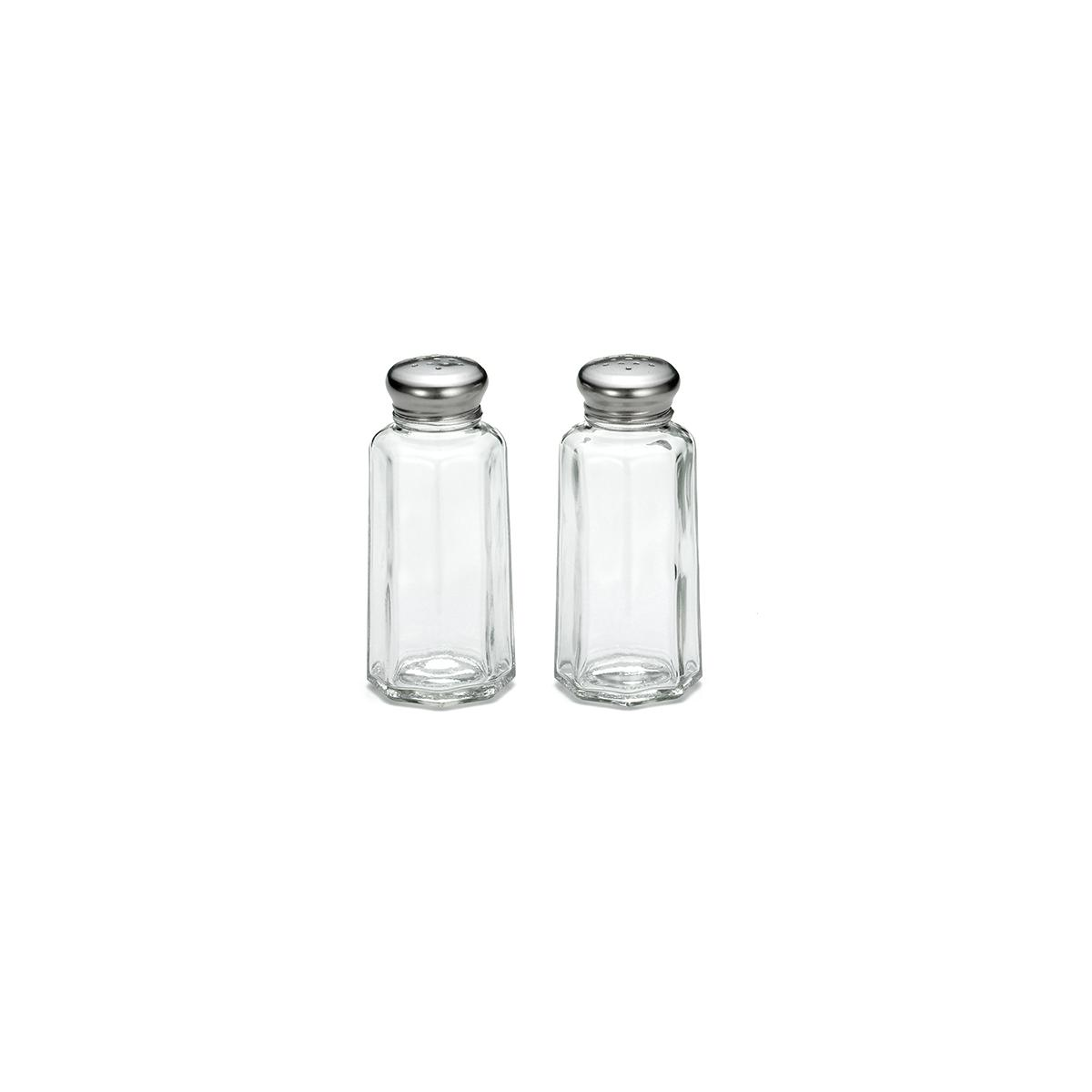 Panelled Salt Pepper Shaker Set With Stainless Steel Tops 60ml