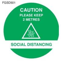 Caution keep 2m apart social distancing floor graphic blue 50cm 19 65