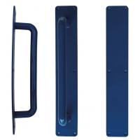 Door handle push plate stericore antimicrobial p hold p plate blue 100mm