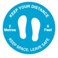 Keep your distance social distancing floor graphic blue 50cm 19 65