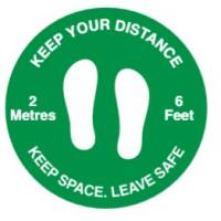 Keep your distance social distancing floor graphic green 50cm 19 65
