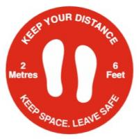Keep your distance social distancing floor graphic red 50cm 19 65