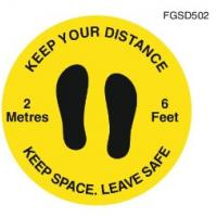 Keep your distance social distancing floor graphic yellow 50cm 19 65