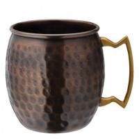 Aged copper hammered round mug 19oz 54cl
