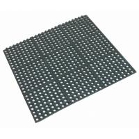 Interlocking rubber floor mat black 90 x 90 x 1 2cm
