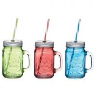 Coloured glass drink jars 15oz 6 sets of 3