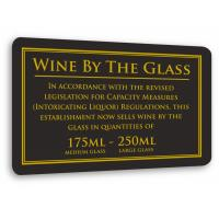 Weights measures act wine by the glass 175ml 250ml sign 17x11cm 7x4 3