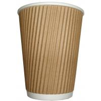 Kraft triple wall ripple hot cup 12oz 34cl