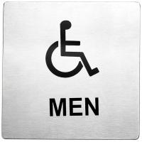 Men accessible stainless steel sign