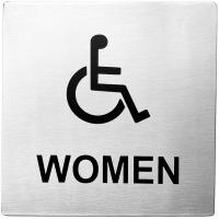 Women accessible stainless steel sign