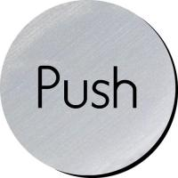 Push silver metallic door disc 3