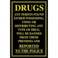 Possessing or distributing drugs sign 10x7