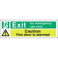 Exit emergency use only door alarmed sticker 18x6