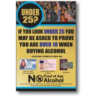 Under 25 proof of age sign gold 10 25x7