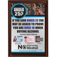 Framed under 25 proof of age sign silver 8x11 4