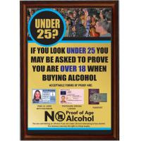 Framed under 25 proof of age sign gold 8x11 4