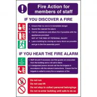 Fire action for members of staff sign 8x12