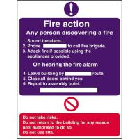 Fire action sign 8x12