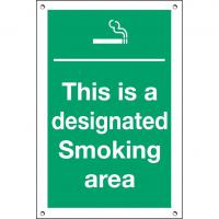 This is a designated smoking area sign 12x8