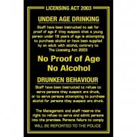 Proof of age drunken behaviour sign 10 25x6 75