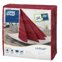 Linstyle burgundy dinner napkin 39cm square 4 fold 1 ply