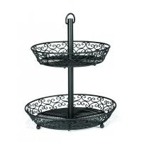 Mediterranean black two tiered basket