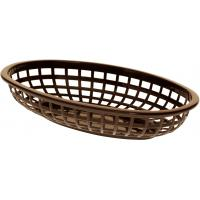 Classic oval plastic basket 24x14x4 5cm brown
