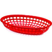 Classic oval plastic basket 24x14x4 5cm red