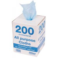 200 all purpose cloths in dispenser box 37x22cm blue