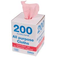 200 all purpose cloths in dispenser box 37x22cm red