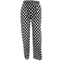Black white large check baggy chefs trousers large