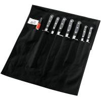 Sabatier trompette 8 piece knife set in black linen roll