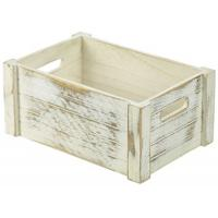 Genware wooden crate white wash finish 34x23x15cm