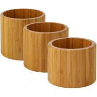 Set of 3 bamboo riser display bowl