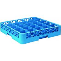 25 compartment polypropylene glass rack 2 extenders 50x50x20 5cm all blue extenders