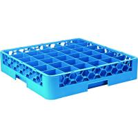 36 compartment polypropylene glass rack 2 extenders 50x50x20 5cm all blue extenders