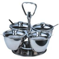 Genware 4 bowl stainless steel revolving relish server