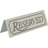 Tent table sign reserved stainless steel 6 4x5cm 2 5x2