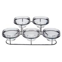 Horizontal buffet holder with 5 x 14cm bowls