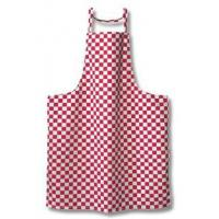 Red white checkboard poly cotton bib apron