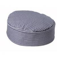 Blue white gingham chefs skull cap large